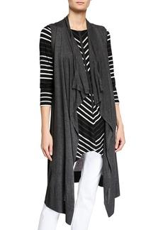 Joan Vass Cascading Open Cardigan Vest