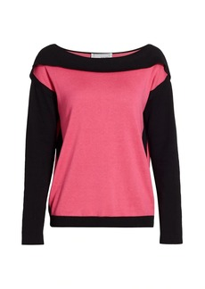 Joan Vass Colorblock Cotton-Blend Sweater