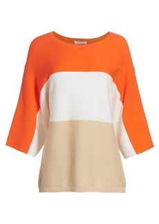 Joan Vass Colorblock Dolman Sweater