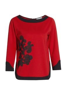 Joan Vass Colorblock Embroidered Zip-Back Top