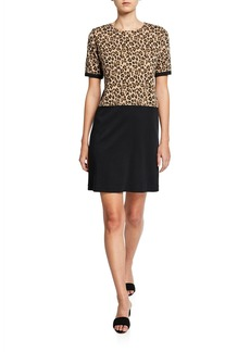 Joan Vass Colorblock Leopard Print Short-Sleeve Cotton Dress