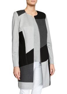 Joan Vass Colorblock Open-Front Coat