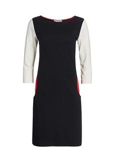 Joan Vass Colorblock Three-Quarter Sleeve Sheath Dress