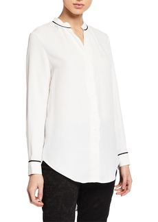 Joan Vass Contrast Piped High-Low Button Up Blouse