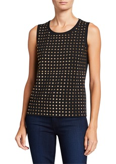 Joan Vass Crewneck Sleeveless Studded Shell