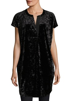 Joan Vass Crushed Stretch Velvet Relaxed Cap-Sleeve Tunic  Plus Size