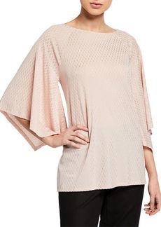 Joan Vass Dash Pattern Kimono Sleeve Tunic