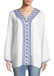 Joan Vass Diamond-Embroidered Bell-Sleeve Peasant Blouse