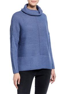 Joan Vass Dolman-Sleeve Turtleneck Cable Sweater