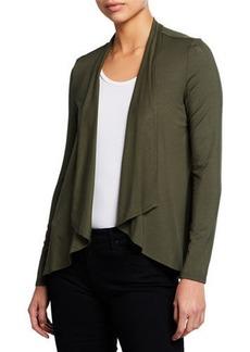 Joan Vass Draped Open-Front Jersey Cardigan