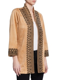 Joan Vass Embroidered Faux-Suede Open-Front Jacket