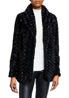 Joan Vass Faux-Fur Snap-Front Draped Blazer