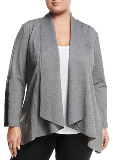 Joan Vass Faux-Leather-Sleeve Draped Cardigan