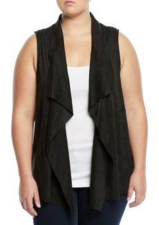 Joan Vass Faux-Suede Draped Open-Front Vest