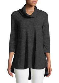 Joan Vass Faux-Suede-Trim Short-Sleeve Tunic Sweater