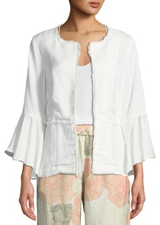 Joan Vass Flared Fringe-Trim Jacket