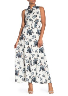 Joan Vass Floral Button Down Maxi Dress
