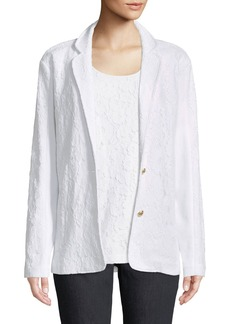 Joan Vass Floral Lace Two-Button Jacket