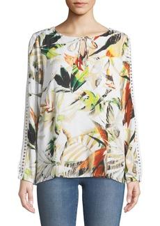 Joan Vass Floral-Print Crocheted Split-Sleeve Top