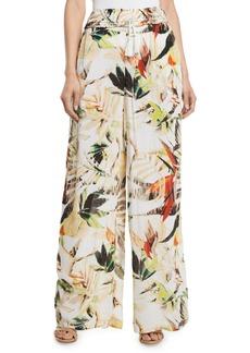 Joan Vass Floral-Print Gauze Wide-Leg Pants