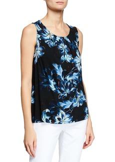 Joan Vass Floral-Print Hi-Low Top