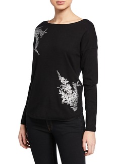 Joan Vass Foiled Floral-Print Sweater