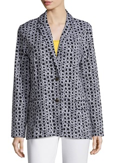 Joan Vass Geometric Jacquard Interlock Jacket  Petite