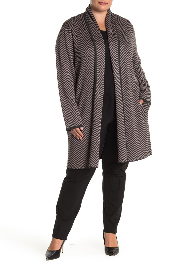 Joan Vass Herringbone Knit Cardigan (Plus Size)