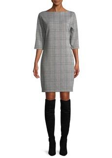 Joan Vass High Boat-Neck 3/4-Sleeve Stretch-Plaid Sheath Dress
