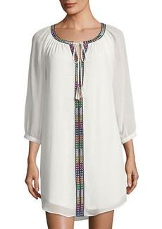 Joan Vass 3/4-Sleeve Embroidered Shift Dress