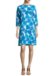 Joan Vass 3/4-Sleeve Floral-Print Shift Dress