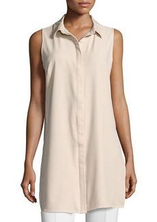 Joan Vass Button-Front Sleeveless Tunic Blouse