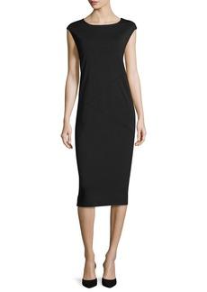 Joan Vass Cap-Sleeve Ponte Knee-Length Dress