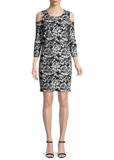 Joan Vass Cold-Shoulder Floral-Print Dress