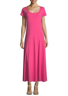 Joan Vass Cotton Interlock Scoop-Neck Maxi Dress
