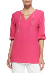 Joan Vass Cotton Pique Lace-Up Tunic