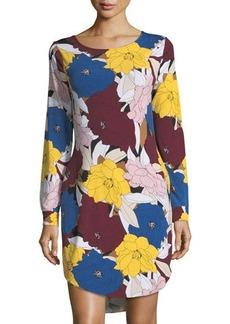 Joan Vass Cowl-Back Floral-Print Shift Dress