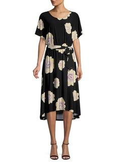 Joan Vass Floral High-Low Midi Dress