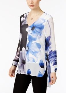 Joan Vass Floral-Print High-Low Blouse