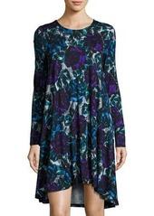 Joan Vass Floral-Print Long-Sleeve Swing Dress