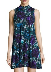 Joan Vass Floral-Print Mock-Neck Floral-Print Swing Dress