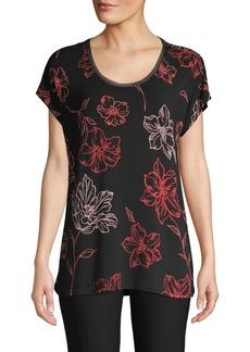 Joan Vass Floral Scoopneck Flutter-Sleeve Top