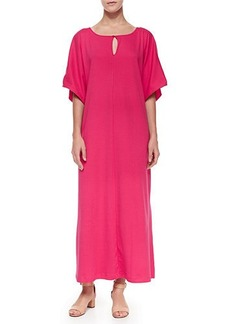 Joan Vass Keyhole-Front Long Dolman Dress
