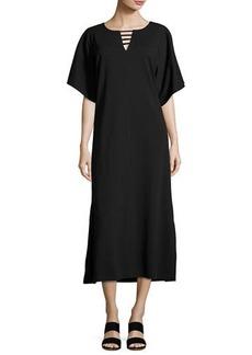 Joan Vass Long Dolman-Sleeve Dress w/ Lattice Detail