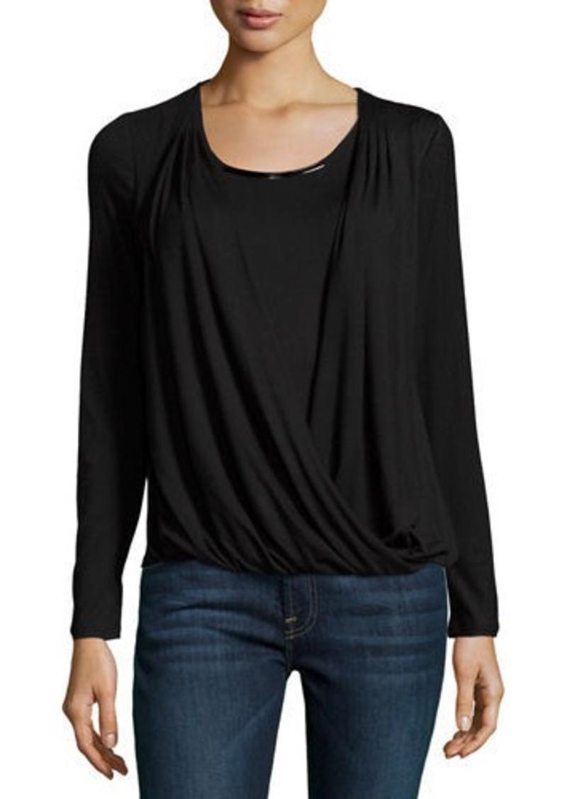 Joan Vass Long-Sleeve Metallic-Neckline Top