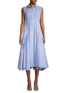Joan Vass Pinstripe Cotton Button-Front Dress