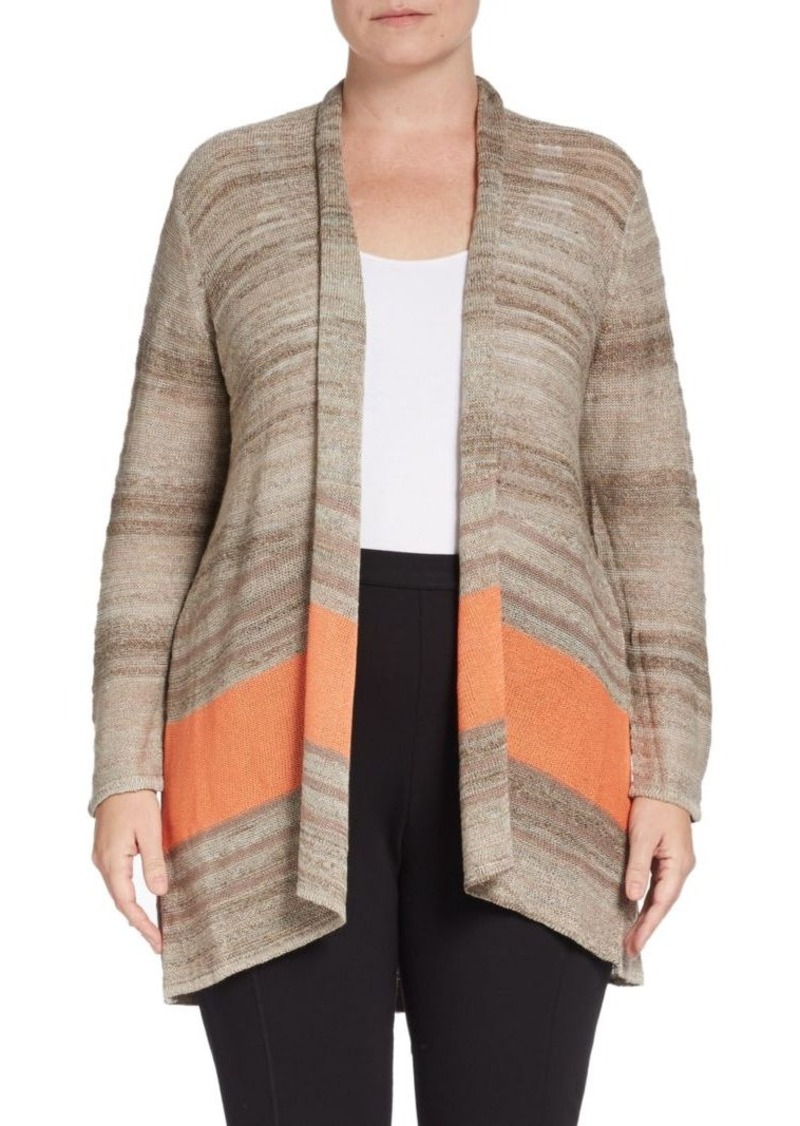 Joan Vass, Plus Size Serape Stripe Cardigan