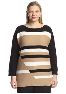 Joan Vass Plus Women's Graphic Links Sweater