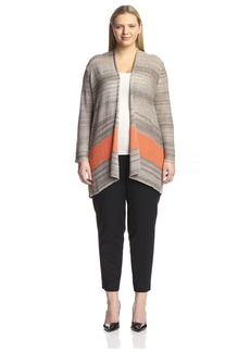 Joan Vass Plus Women's Serape Stripe Cardigan
