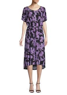 Joan Vass Printed High-Low Midi Dress